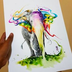 I'm Reza from Indonesia and I'm a watercolor artist. Watercolor Paintings Of Animals, Watercolor Artists, Watercolor Illustration, Animal Sketches, Art Sketches, Art Drawings, Digital Art Photography, Elephant Art, Art Academy