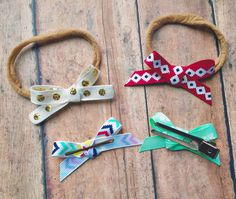 """Itty Bitty 3/8"""" mini bows single loop tied headbands nylon 