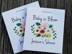 SALE Personalized MINI Seeds Floral Bunch Baby in Bloom - Sunflowers Flower Seed Packets Baby Shower Favors Shabby Chic Cheap