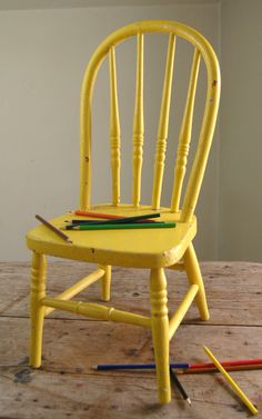 Vintage Bentwood Childs Chair - Old Chippy Yellow Paint - Long Bow Back 1940s