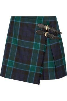 Jupe portefeuille en laine motif tartan Burberry pour Net à Porter