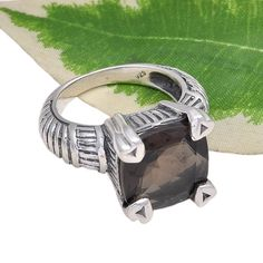 925 SOLID STERLING SILVER AMAZING SMOKEY CUT FANCY RING 9.68g DJR3683 #Handmade #Ring