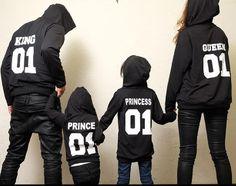 2017 Autumn Winter Couple Clothes Hoodies KING Queen Princess Prince Print Sweatshirts