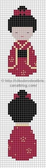 Bead Patterns for Loom Work or Square Stitch ___ Geisha Kokeshi Doll Pattern Cross Stitch Charts, Cross Stitch Designs, Cross Stitch Patterns, Cross Stitching, Cross Stitch Embroidery, Embroidery Patterns, Broderie Simple, Stitch Doll, Bead Loom Patterns