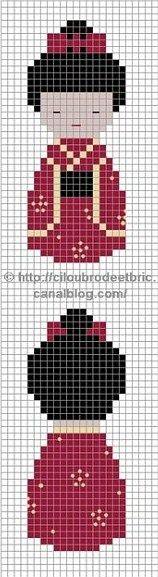 cross stitch chart les kokeshis de cilou