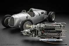 Auto Union Type C and its massive supercharged V16 engine. - the precursor to Audi and, in 1936, already recorded a top speed of 211mph, rivalling many of today's super cars.