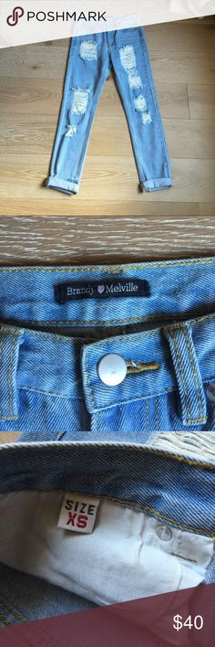 Brandy Melville Jeans Very cute distressed boyfriend Brandy Melville jeans!  In excellent pre loved condition! Brandy Melville Jeans Boyfriend