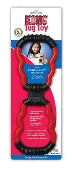 The KONG Tug combines two strong materials to create the perfect tug toy. Legendary KONG rubber grips and Control-Flex™ centre provide strength and flexibility. Nylon KONG-shaped rings are sturdy and designed to withstand the most vigorous tug sessions. Best Dog Toys, Best Dogs, Kong Toys, Interactive Dog Toys, Dog Activities, Dog Training Tips, Dog Accessories, Dog Supplies, Puppies