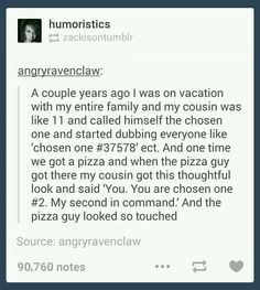 Spn stuff I see (feel free to add): 1. Chosen one. 2. Pizza 3. Pizza guy.
