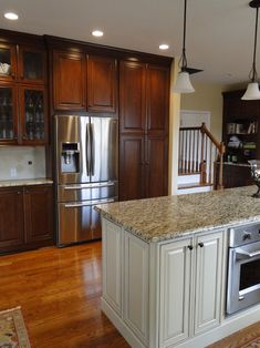 "Remodel Kitchen With White Cabinets 36"" upper cabinets with 6"" stacked molding, 8-foot ceilings"