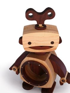 """""""key to my heart""""  wood robot on wood candy workshop"""