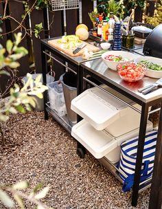 Lag et flott utekjøkken - IKEA Simple Outdoor Kitchen, Backyard Kitchen, Outdoor Kitchen Design, Backyard Toys, Ikea Outdoor, Outdoor Dining, Prep Kitchen, Kitchen On A Budget, Kitchen Island