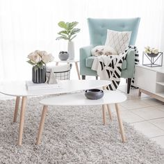Mint, white and grey living room styling.