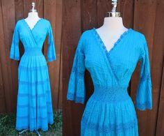 1970s Vtg Blue Flower Child Crochet Lace Pleats w/ Slip Boho Angel Wing Dress S by GeekGirlRetro on Etsy