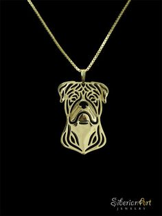 American Bulldog jewelry Gold pendant and by SiberianArtJewelry
