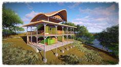 Cabana EcoGanicO to be build 2018 Backyard Landscaping, Backyard Ideas, Cabana, Lodges, Costa Rica, Landscape, House Styles, Building, Green