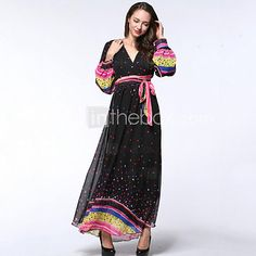 Women's Beach / Plus Size Boho Chiffon Dress,Polka Dot Deep V Maxi Long Sleeve Black Polyester Summer - USD $29.99 ! HOT Product! A hot product at an incredible low price is now on sale! Come check it out along with other items like this. Get great discounts, earn Rewards and much more each time you shop with us!