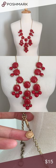 Red J. Crew bubble necklace J. Crew red bubble necklace with gold hardware.  In good condition.  Beautiful statement piece to pair with any outfit!! J. Crew Jewelry Necklaces