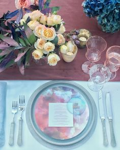 the ARK collection - Lunar Mist Charger / Dinner/ Hammered Pewter Flatware / Vintage coupes. Event produced by Flowerwild with Twine Events, Amber Moon Design. Image by Corbin Gurkin