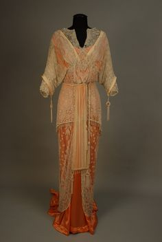 French Belle Epoch, Orange-Sherbet Bead-Encrusted Gown. (I would LOVE to re-create this!)