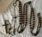 RARE ANTIQUE CARMELITE NUNS BROWN HABIT WAIST WARDROBE ROSARY FROM GERMANY