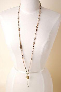 Unique handmade gemstone antique brass designer collage layer necklaces for women are made in America in our Floyd Va studio