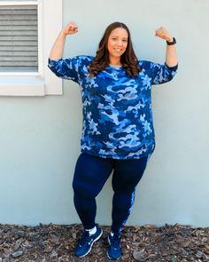 Navy Camo Print Activewear – Estrella Fashion Report Activewear Sets, Plus Size Activewear, Plus Size Workout, Under Armour Shoes, Workout Outfits, Camo Print, White Pants, Casual Wear, Plus Size Fashion