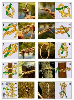 HOW TO – Tie the 10 most useful knots Here's a guide on how to tie 10 useful knots including - Overhand Knot Figure-eight Know Reef (Square) Knot Sheet (Becket) Bend Carrick Bend Bowline Clove Hitch Timber Hitch Taut-line Hitch Sheepshank Camping And Hiking, Camping Survival, Outdoor Survival, Survival Skills, Camping Ideas, Backpacking, Camping Outdoors, Winter Camping, Homestead Survival