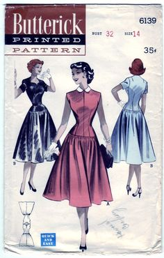 This is a era Butterick pattern for an easy to sew casual dress molded torso and dropped waist. Peter pan collar or cut out neckline. Size 12 Bust 30 Pattern is cut and complete Vintage 1950s Dresses, Vestidos Vintage, Vintage Outfits, Vintage Sewing Patterns, Clothing Patterns, Dress Patterns, 1950s Fashion, Vintage Fashion, Vintage Style