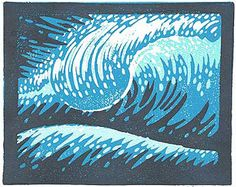 """1980's BLOCK PRINT 8"""" X 10"""". Block carving signed limited edition of 55. Personally signed by John Severson. Three block print. Moderate variations in each hand done print."""