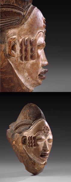 Africa | Mask from the Punu people of Gabon | Wood and pigment | ca. early to mid 20th century