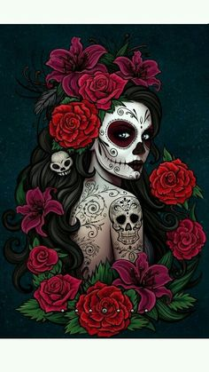 new ideas for skull art wallpaper dia de Sugar Skull Mädchen, Sugar Skull Artwork, Sugar Skull Tattoos, Halloween Illustration, Skull Illustration, Art Pop, Mexican Skull Art, Make Up Workshop, Kosmetik Online Shop