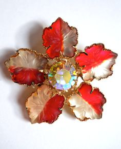 Frosted Glass Flower Brooch-Pin Red White AB by RenaissanceFair