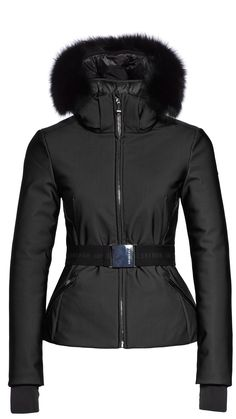 Goldbergh Hida black ski jacket with belt and fur trim from Winternational – Daily Fashion Fall Winter 2017, Winter Gear, Winter Season, Autumn, Black Ski Jacket, Ski Girl, Ski Wear, Snow Fashion, Winter Jackets Women