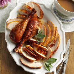 Maple-Sage Brined Turkey Recipe -When the leaves start turning color, it's turkey time at our house. We use maple-sage brine to help brown the bird and make the meat incredibly juicy. —Kim Forni, Laconia, New Hampshire