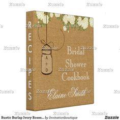 Rustic Burlap Ivory Roses Mason Jar Recipe Folder