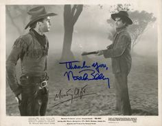 "MONTGOMERY CLIFT & NOAH BEERY JR: Extremely rare vintage B/W glossy studio publicity photo for the 1948 film ""Red River,"" starring John Wayne and featuring Montgomery Clift in his debut film role as Wayne's adopted son. Signed by both Clift and fellow actor Noah Beery, Jr. A wonderful item from arguably one of the best American Westerns ever made, particularly notable since it was Clift's first film."