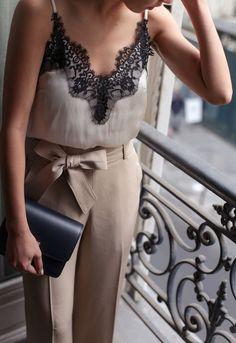 lace camisole + bow belt wide leg pants outfit // extra petite paris