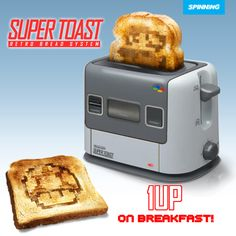 A retro Super Nintendo toaster. Each and every piece of bread can now turn into toast with Mario character embedded into it. You can choose The Toad, Mario, Luigi or the Princess. Super Nintendo, Super Mario Bros, Nintendo Room, Nintendo Games, Arcade Games, Consoles, Console Style, Deco Gamer, Geek Culture