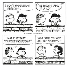 First Appearance: March 10th, 1984 #peanutsspecials #ps #pnts #schulz #linus #lucy #understand #heredity #thought #alot #stupidity www.peanutsspecials.com