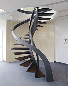 39 Ideas For Wooden Spiral Stairs Stairways Spiral Stairs Design, Stair Railing Design, Stair Handrail, Spiral Staircase, Staircases, Interior Staircase, Stairs Architecture, Modern Staircase, Interior Architecture