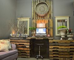 a peek at my pallet workspace and annie sloan inspired office, chalk paint, craft rooms, diy, home decor, home office, painted furniture, pallet, repurposing upcycling, woodworking projects, My workspace good for everything including painting and sewing with just some found glass on the three tops