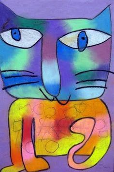 Laurel Burch Cats with warm and cool colors - 3rd grade