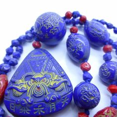 Vintage Czech Neiger Egyptian Revival Dragon Glass Bead Necklace | eBay