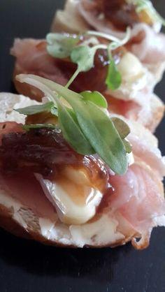 Bruchetta with parma camembert and onion jam
