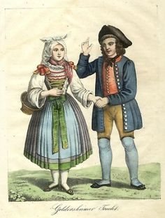 Geldersheim Tracht 1840. Geldersheim is a municipality in the district of Schweinfurt in Bavaria, Germany.  Women -- Clothing & dress -- Germany -- 1800-1899.  German, early 19th century.