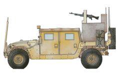 Humvee M1038, para el transporte de tropa, va equipado con una ametralladora M249 SAW de 5.56 mm, Irak, 2005. Pin by Paolo Marzioli