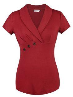 588755052103a Ninedaily Women Tops Lapel V Neck Front Button Elegant Short Sleeve Blouse  at Amazon Women s Clothing