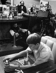 "George Lucas & Ron Howard filming ""American Graffiti"" (1973)"