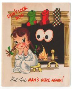 Vintage Greeting Card Christmas Little Girl Google Eye Santa Claus(CG206)